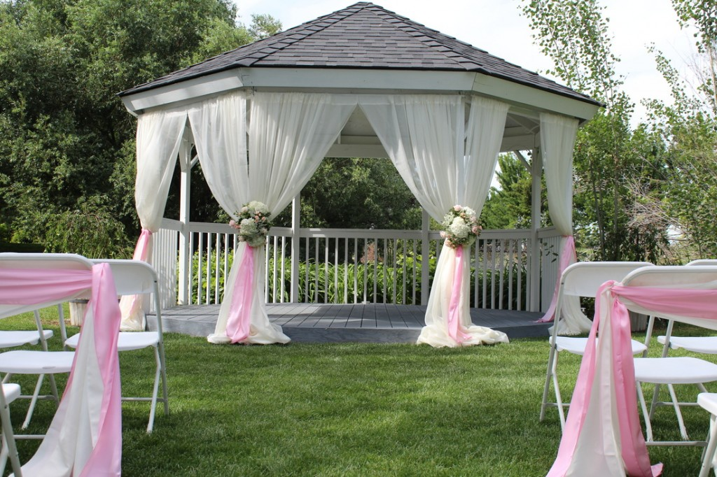 White & Pink Wedding in Gazebo
