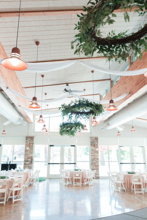 Sheer Ceiling Material & Wreaths by Boise Events