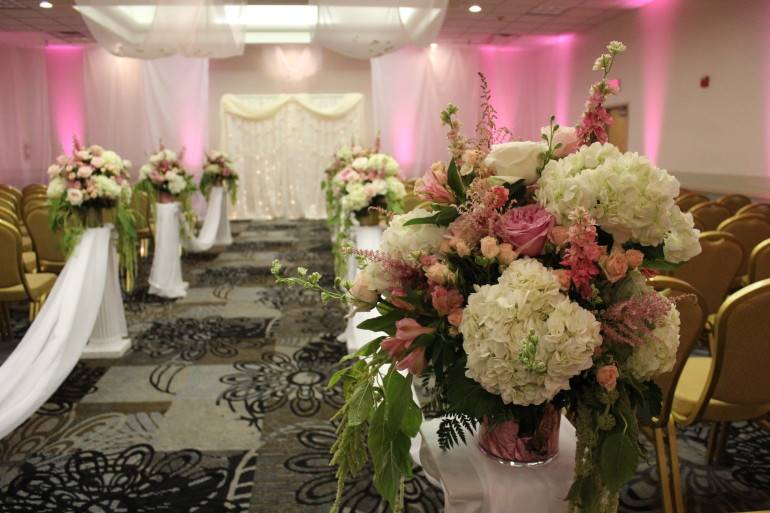 Specialty Backdrop, Up-lights, Columns, & Flowers by Boise Events