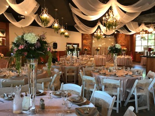 Ceiling Decor, Trumpet Vases, & Flowers by Boise Events