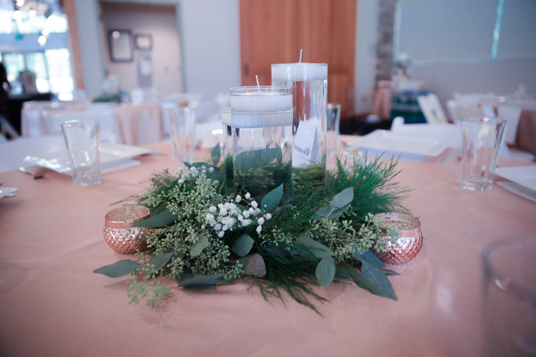 Cylinder Vases & Rose Gold Votive by Boise Events