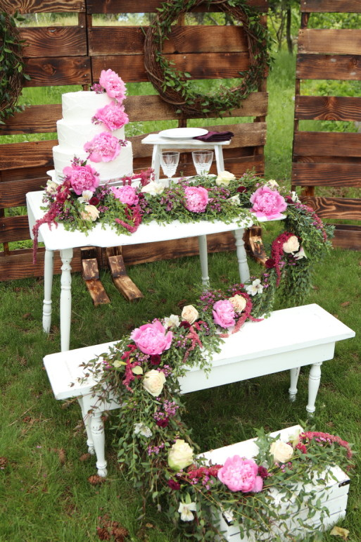 Folding Table With Bench & Flowers by Boise Events