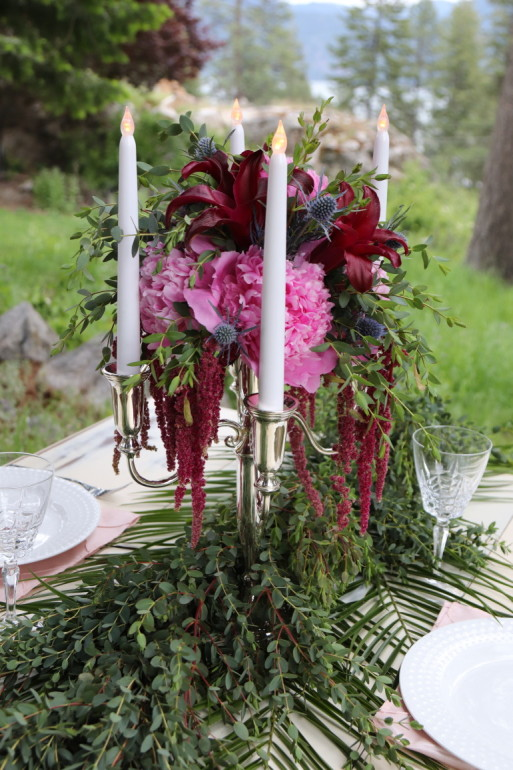 Silver Candelabras Flowers by Boise Events