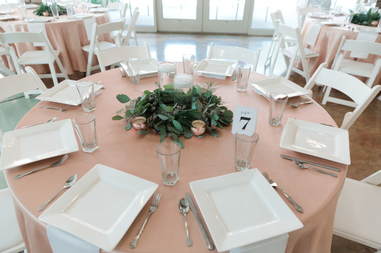 Tableware, Rose Gold Votive, & Wreath by Boise Events