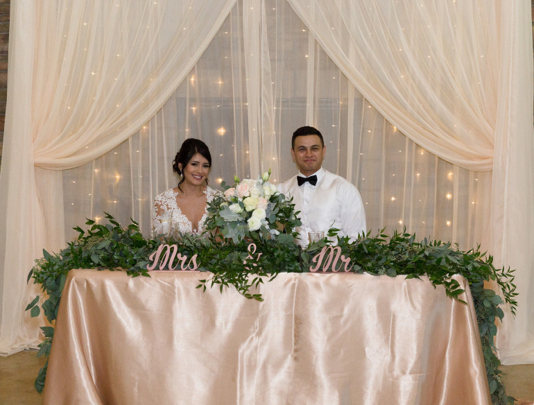 Sheer, Light Backdrop & Table Garland by Boise Events
